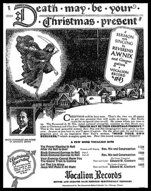Chicago Defender Blues Advertisements: Christmas Sermons | Big Road